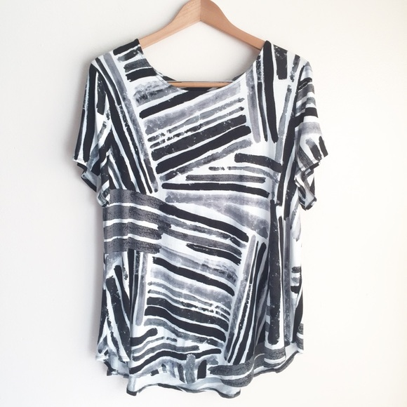 515791fd16b Alfani Tops | Popover Plus Size Geometric Print Knit Top | Poshmark